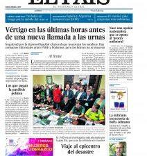 """Las primeras ediciones de los principales periódicos llegados a nuestra redacción incluyen, entre otras, las siguientes noticias en sus portadas: EL PAÍS: """"Vértigo en las últimas horas antes de una […]"""
